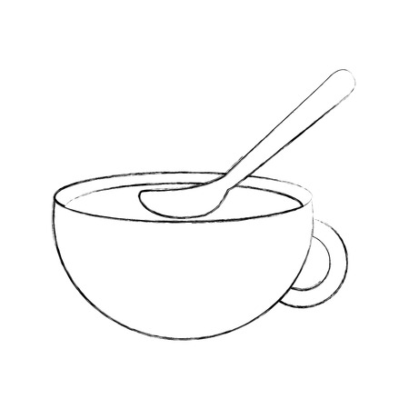 cup of beverage with spoon refreshment aroma liquid vector illustration Stok Fotoğraf - 90295263