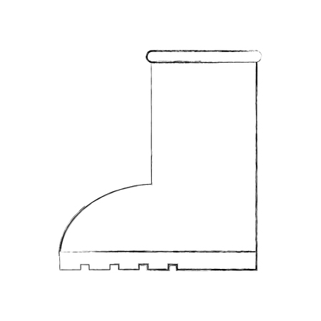 rubber boot rain seasonal icon style on white background vector illustration Ilustração