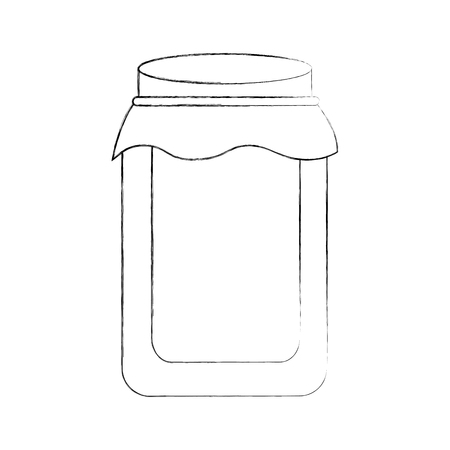 glass jar with cap filled with honey vector illustration Иллюстрация