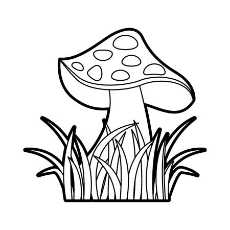草自然シンボル ベクトル図に秋のキノコのアイコン