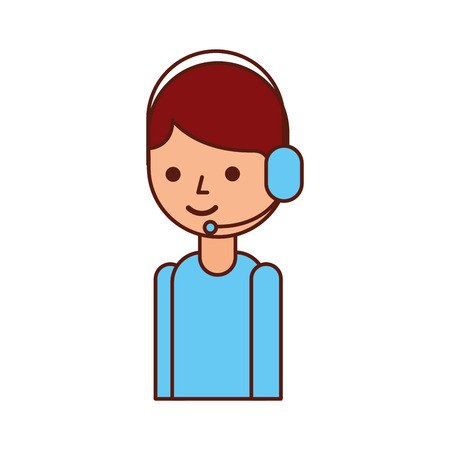Logistic delivery support phone operator in headset icon, vector illustration. Illustration