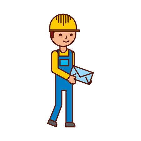 delivery man standing and holding envelope courier in uniform at work character vector illustration Illusztráció
