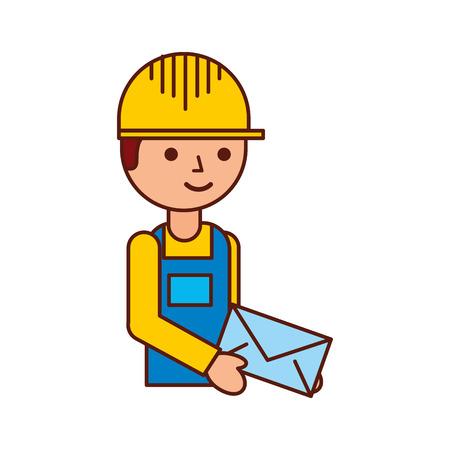 Repartidor de pie y sosteniendo el correo del sobre en uniforme en la ilustración de vector de caracteres de trabajo Foto de archivo - 90305106