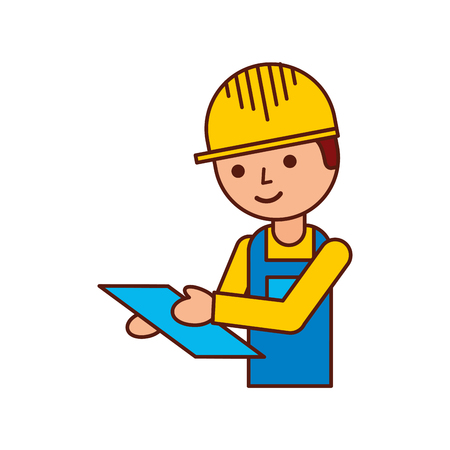 手にクリップボードと均一なベクトルイラストで労働者の物流配信