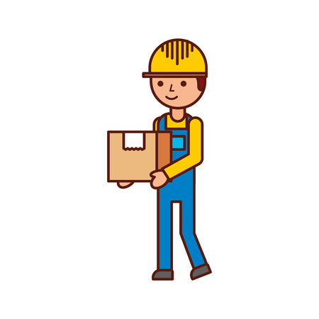 logistic company courier delivery man character holding parcel in hands vector illustration Illustration