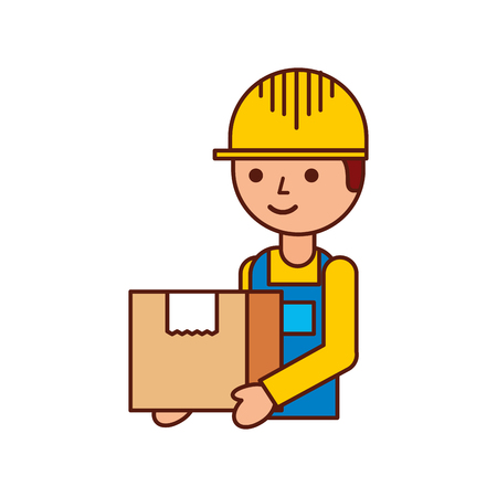 logistic company courier delivery man character holding parcel in hands vector illustration Stock Vector - 90305109