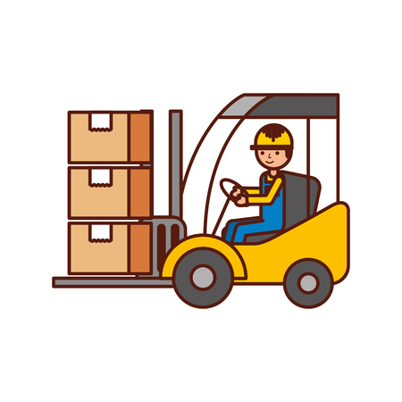 warehouse worker loading cardboard boxes forklift driver at work in storehouse vector illustration