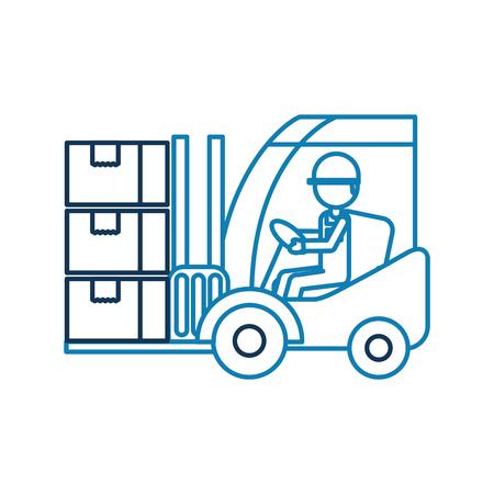 entrepôt travailleur chargement boîtes en carton chariot élévateur pour travailler dans l & # 39 ; entrepôt illustration vectorielle Vecteurs