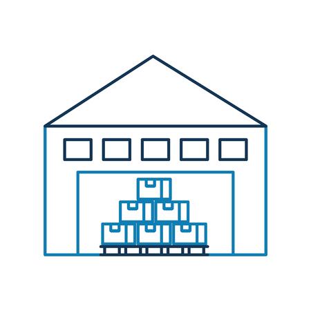 倉庫の棚のベクトル図に貨物コンテナー箱付け建物 写真素材 - 90305125