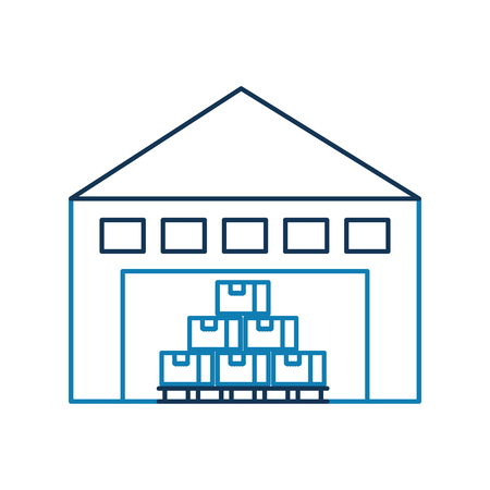 warehouse building with cargo container box on shelves vector illustration