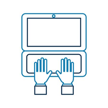 手ビジネス ノート パソコン注文オンライン配信ロジスティック、ベクトル図での作業します。  イラスト・ベクター素材
