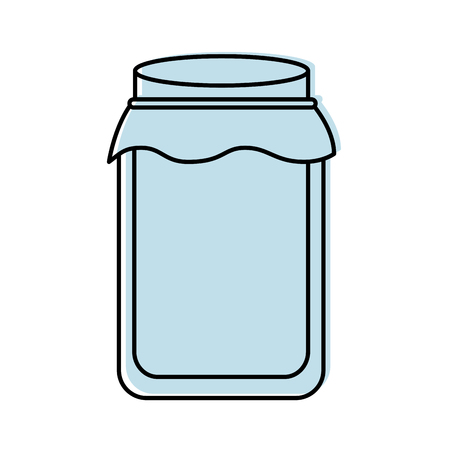 Glass jar and cap filled with honey, vector illustration.