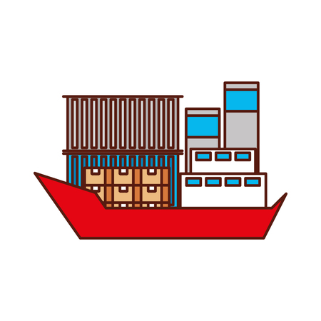 sea transportation logistic freight shipping cargo ship vector illustration