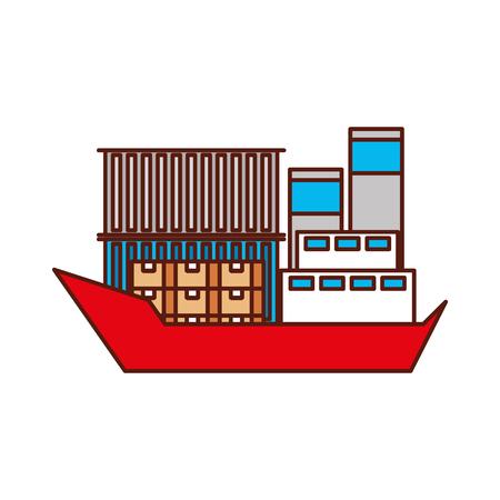 Transport maritime fret logistique cargo cargo illustration vectorielle Banque d'images - 90305128