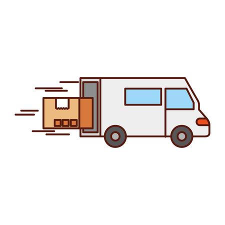 snelle bestelwagen vrachtwagen kartonnen doos element vector illustratie