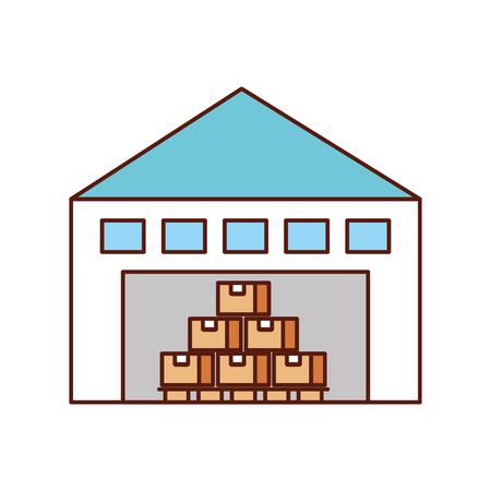 倉庫の棚のベクトル図に貨物コンテナー箱付け建物