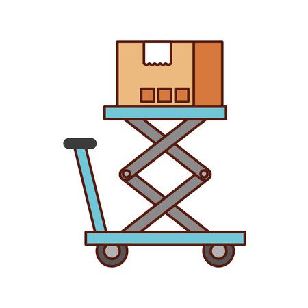 プラットフォームのストレージのベクトル図にロジスティックの段ボール箱 写真素材 - 90305139