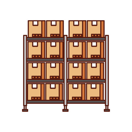 shelf with carton boxes warehouse storage cardboard cargo vector illustration