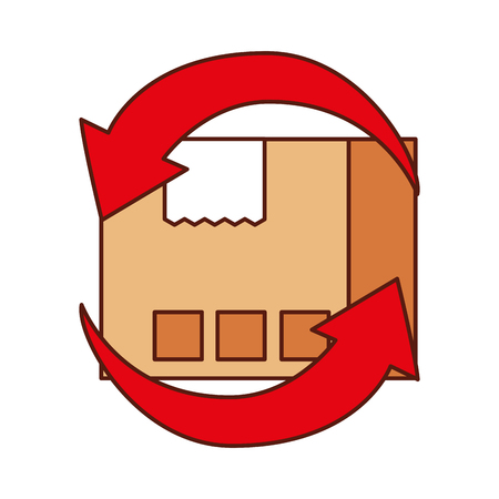 freight transportation around the world cardboard box with arrows vector illustration