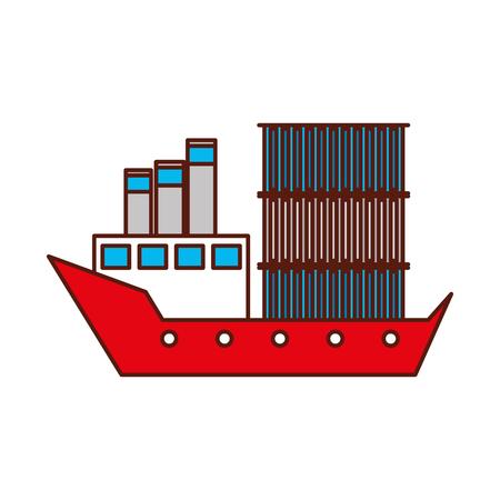 Trasporto marittimo trasporto merci logistico nave cargo illustrazione vettoriale nave Archivio Fotografico - 90305144