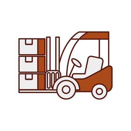 物流のフォーク リフトの段ボール箱輸送貨物のベクトル図 写真素材 - 90305153