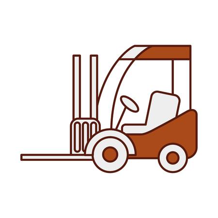 フォーク リフト配信トラック貨物車両ベクトル図  イラスト・ベクター素材