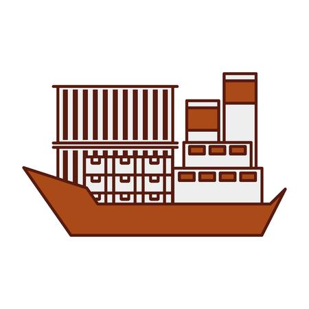 海上輸送物流貨物輸送貨物船ベクトルイラスト  イラスト・ベクター素材