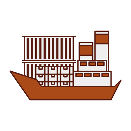 sea transportation logistic freight shipping cargo ship vector illustration