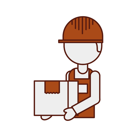 logistic company courier delivery man character holding parcel in hands vector illustration Stock Vector - 90305156