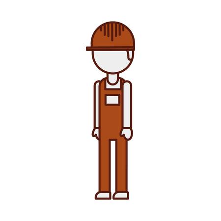 Logistic worker man cartoon with uniform and helmet, vector illustration. Illustration