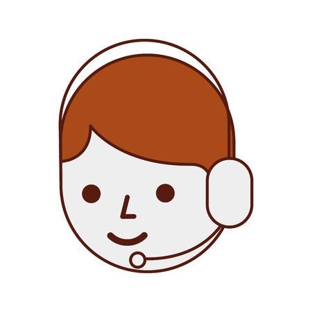 Centro de llamadas de operador de dibujos animados usando la ilustración de vector de micrófono de auriculares Foto de archivo - 90305201