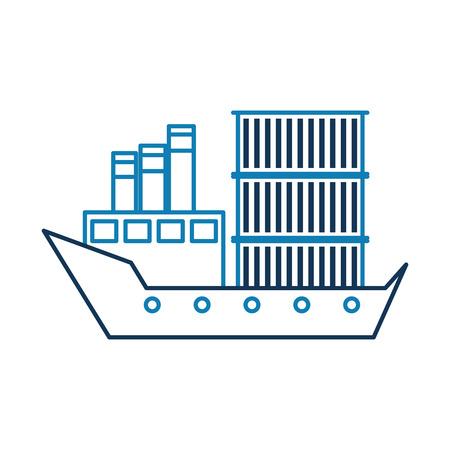 zeevervoer logistiek vrachtschip vrachtschip vector illustratie