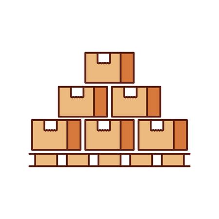 木製パレット閉鎖カートン配達包装壊れやすいベクトルイラストの箱