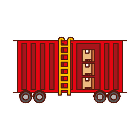 freight train cargo car container and boxes logistics transport design element vector illustration