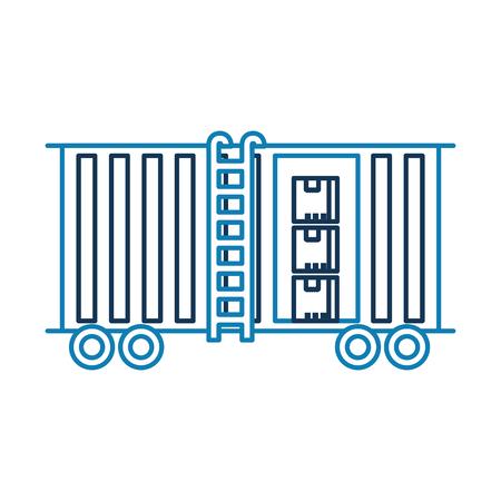 화물 열차화물 컨테이너 및 상자 물류 운송 디자인 요소 벡터 일러스트 레이션 일러스트
