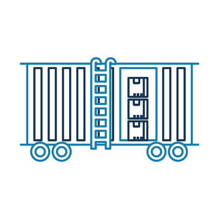 freight train cargo car container and boxes logistics transport design element vector illustration Banco de Imagens - 90305238
