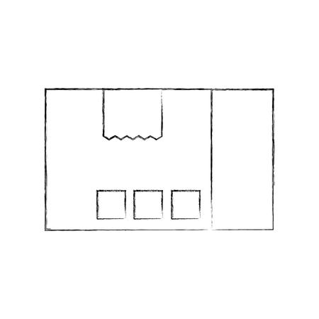 配達段ボール箱パック貨物アイコンベクトルイラスト