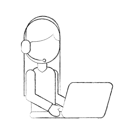 operator call center headset working laptop vector illustration