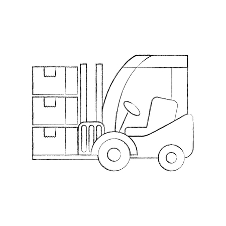logistic forklift cardboard boxes transport cargo vector illustration