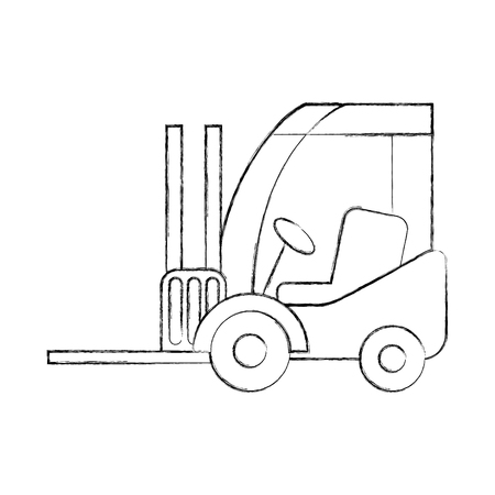 forklift delivery truck cargo vehicle vector illustration