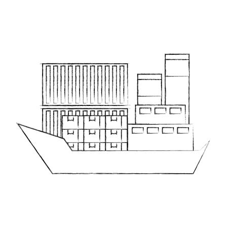 sea transportation logistic freight shipping cargo ship vector illustration Stock Vector - 90305264