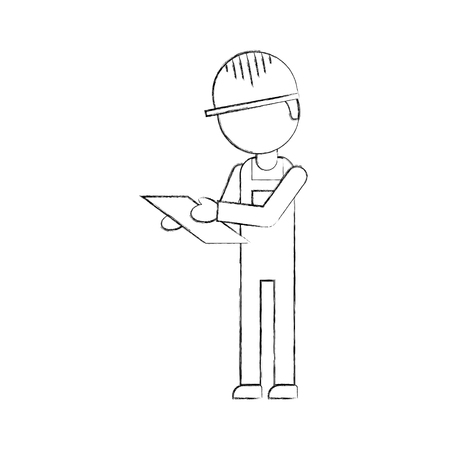 worker logistic delivery with clipboard in hands and uniform vector illustration