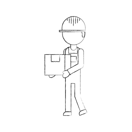 logistic company courier delivery man character holding parcel in hands vector illustration Ilustrace