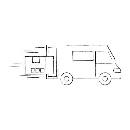 fast delivery van truck cardboard box element vector illustration
