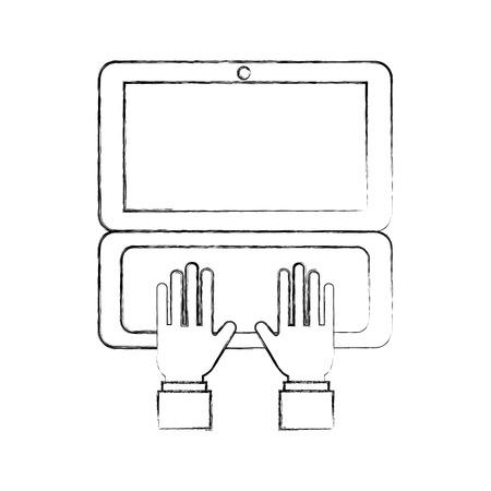 hand business working in laptop order online delivery logistic vector illustration Illustration