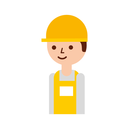 logistic worker man cartoon with uniform and helmet vector illustration