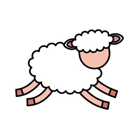 Illustrazione vettoriale di icone di carattere di agnello carino Archivio Fotografico - 90305334