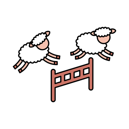 Cute lambs jumping the fence vector illustration design