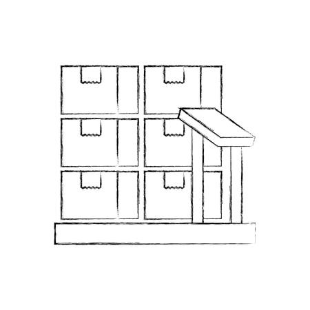 Boîtes en carton sur les échelles de stockage logistique icône illustration vectorielle Banque d'images - 90305361
