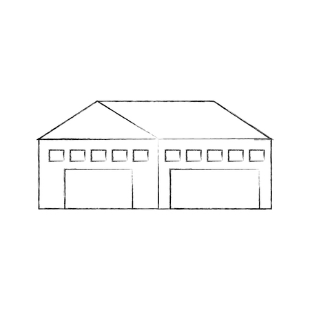 warehouse building exterior commercial empty vector illustration